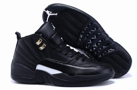men jordan 12 shoes black-001
